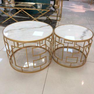 זוג שולחנות שיש עגולים – MARVEL זוג גדול/זוג קטן זהב-לבן