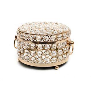 קופסת תכשיטים עגולה משובצת אבני קריסטל – גדול/קטן