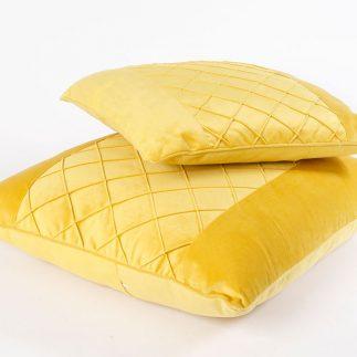 כרית נוי – VELLUTO צהוב גדול/קטן