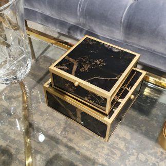 זוג קופסאות תכשיטים – BLACK SAKURA קטן