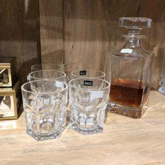דיקנטר + 6 כוסות וויסקי  קריסטל – MONTE CRISTO