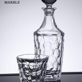 שישיית כוסות וויסקי + דיקנטר קריסטל MARBLE