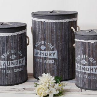 שלישיית סלי כביסה – LAUNDRY עץ