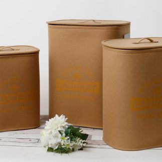 שלישיית סלי כביסה – LAUNDRY חום עגול/מלבני