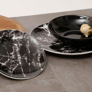 מערכת כלי אוכל 18 חלקים – MARMO שיש שחור