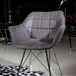 כורסא – BARBARA אפור בהיר + רגלים ניקל