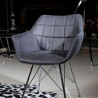 כורסא – BARBARA אפור כהה + רגלים ניקל