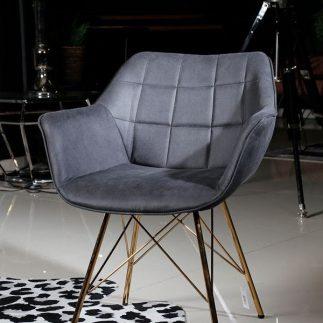 כורסא – BARBARA אפור כהה + רגליים זהב