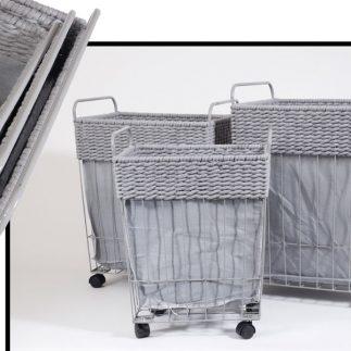 שלישיית סלי כביסה מלבניים – FRESH אפור/לבן