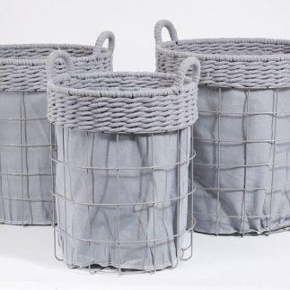 שלישיית סלי כביסה עגולים – FRESH אפור/לבן