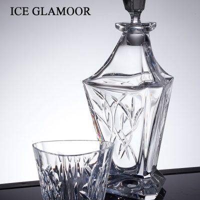 שישיית כוסות וויסקי + דיקנטר קריסטל - ICE GLAMOOR