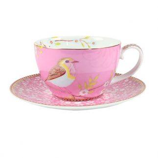 סט 6 כוסות קפוצ'ינו + תחתית – PINK BIRD