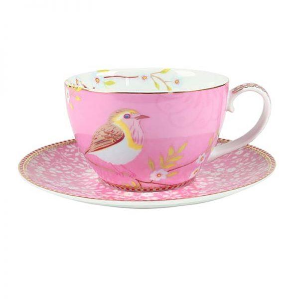 סט 6 כוסות קפוצ'ינו + תחתית - PINK BIRD
