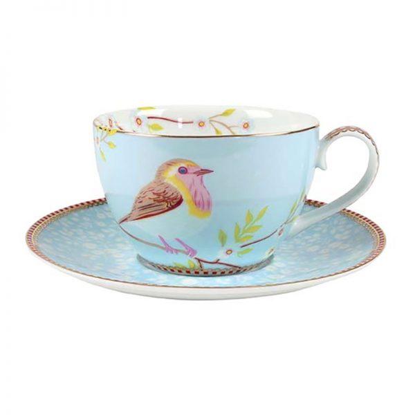 סט 6 כוסות קפוצ'ינו + תחתית - BLUE BIRD