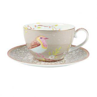 סט 6 כוסות קפוצ'ינו + תחתית – CREAM BIRD