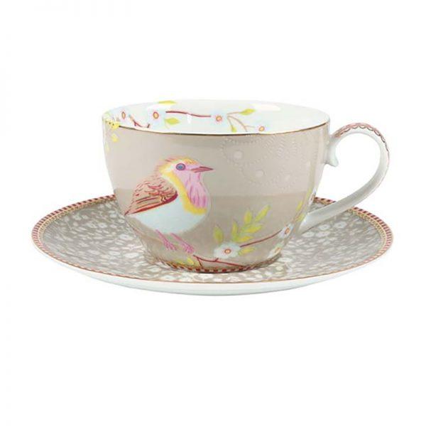 סט 6 כוסות קפוצ'ינו + תחתית - CREAM BIRD