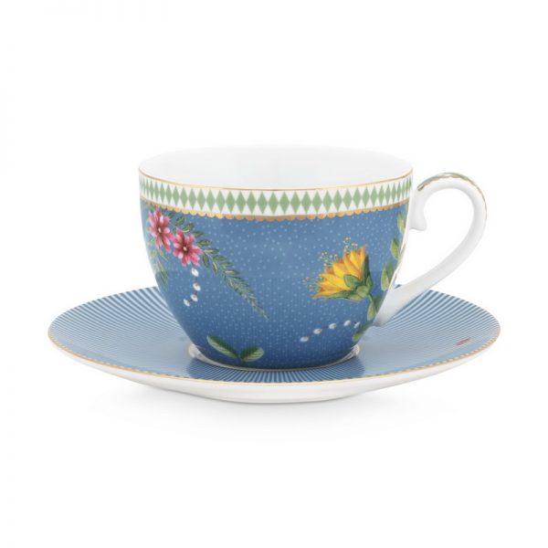 סט 6 כוסות קפוצ'ינו + תחתית - LA MAJORELLE כחול