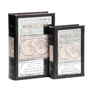 זוג ספרים לאחסון ונוי – WORLD MAP