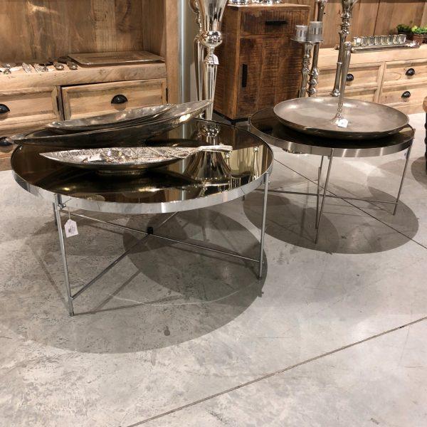 שולחן סלון - BLACK MIRROR כסף גדול/בינוני