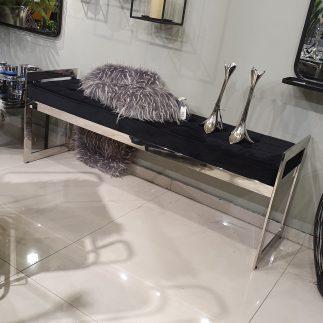 ספסל קטיפה – BANCO כסף – שחור