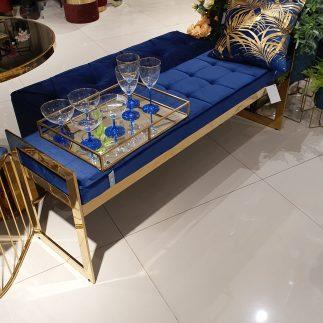 ספסל קטיפה – BANCO זהב – כחול