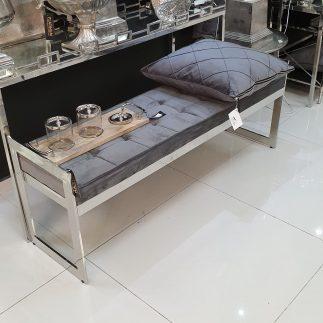 ספסל קטיפה – BANCO כסף – אפור