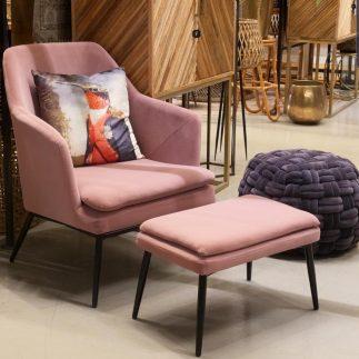 כורסא + הדום – JANE ורוד/חרדל/אפור בהיר/אפור – כחול