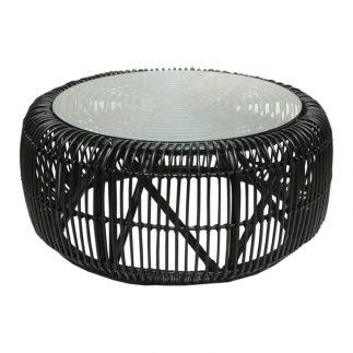 """שולחן – NATURA גדול (קוטר 100 ס""""מ ) טבעי/שחור"""