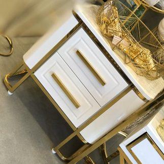 שידה לחדר שינה – CHERIE זהב – לבן