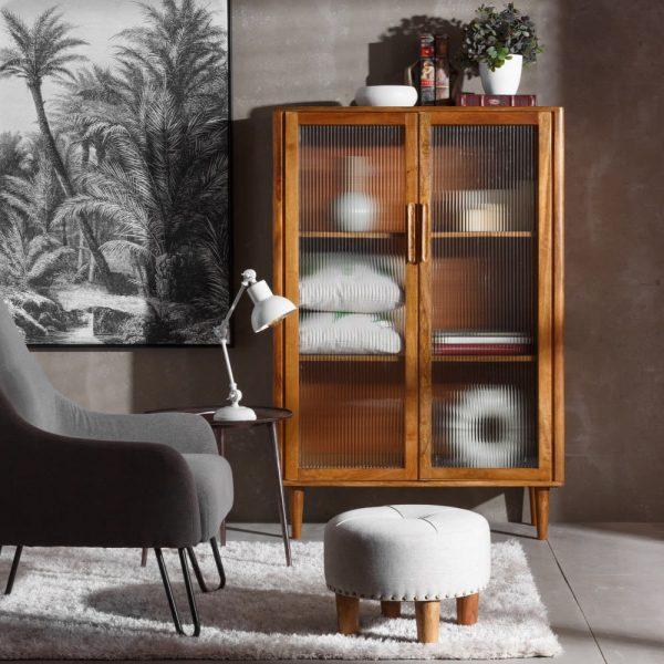 ארון עץ מנגו עם זכוכית רטרו - ARNI
