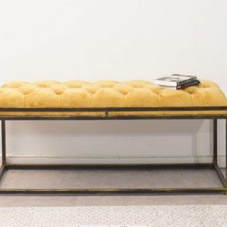 ספסל קטיפה – ARUBA שחור – צהוב גדול/בינוני
