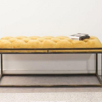 ספסל קטיפה - ARUBA שחור - צהוב גדול/בינוני