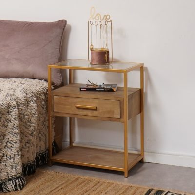שידה לחדר שינה בשילוב עץ וזהב  - AMSTER זהב