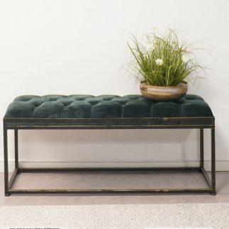 ספסל קטיפה – ARUBA שחור – ירוק גדול/בינוני
