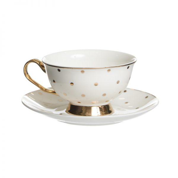 סט 6 כוסות תה/קפוצ'ינו + תחתית - NIKA