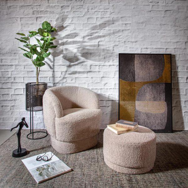 כורסא מעוצבת מבד שאגי - SHEEPY אפור עם הדום/ללא הדום