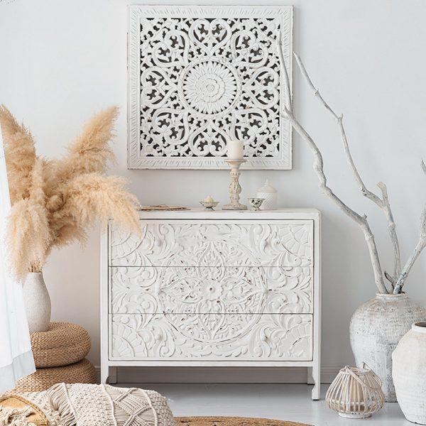שידה מעוצבת לבנה מעץ - CLOUD
