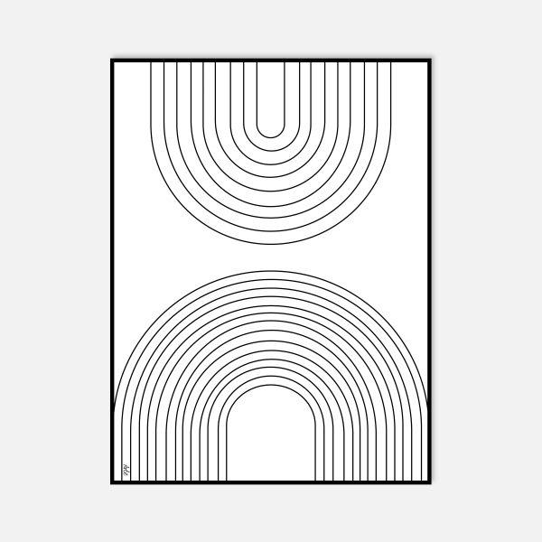 פרינט דיגיטלי ממוסגר בשחור לבן - ARCO