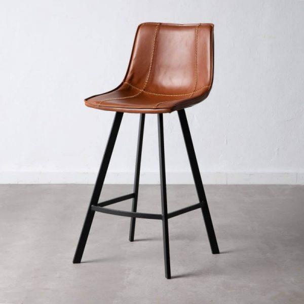 כיסא בר דמוי עור חום - MORO
