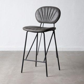 כיסא בר דמוי עור אפור – JANGO
