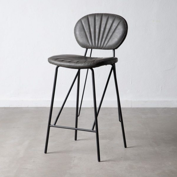 כיסא בר דמוי עור אפור - JANGO