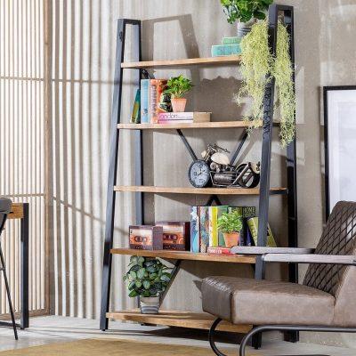 ספריה מעץ מלא וברזל - MAGNUM
