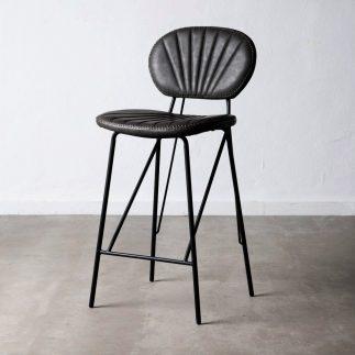 כיסא בר דמוי עור שחור – JANGO