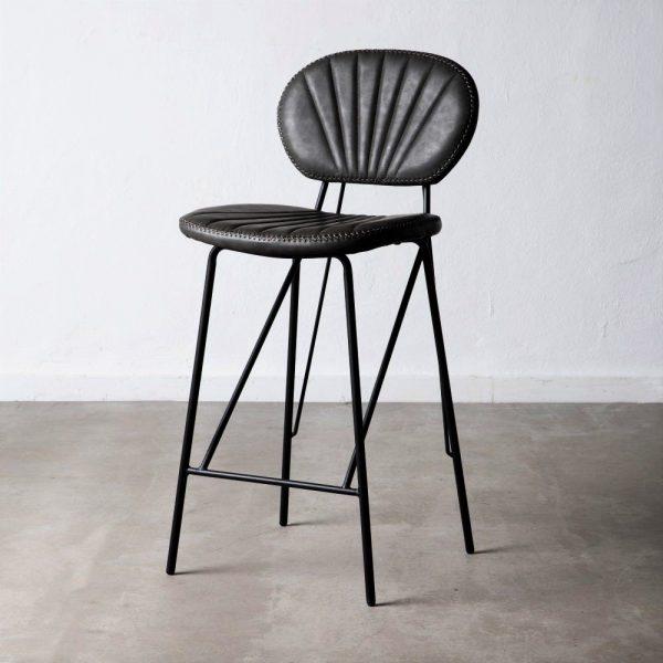 כיסא בר דמוי עור שחור - JANGO