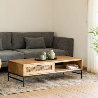 שולחן עץ מלא וראטן  – AHORA רגליים שחורות