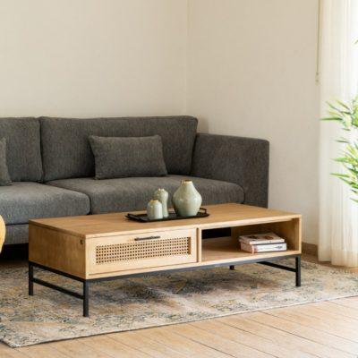 שולחן עץ מלא וראטן  - AHORA רגליים שחורות