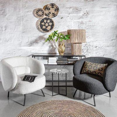 כורסא מעוצבת מבד שאגי בלבן ואפור - SHEEPY 2.0