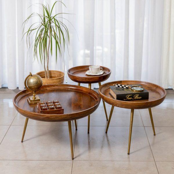 שולחנות עץ עגולים עם רגליים זהב - CAPE גדול/בינוני/קטן