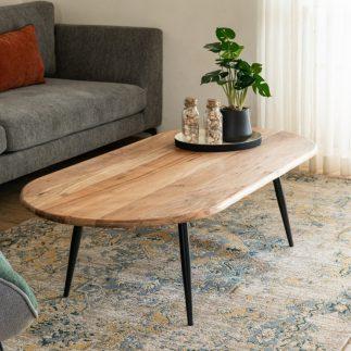 שולחן עץ מלא מעוצב לסלון – NUCCA גדול/קטן