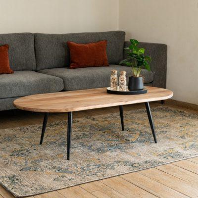 שולחן עץ מלא מעוצב לסלון - NUCCA גדול/קטן